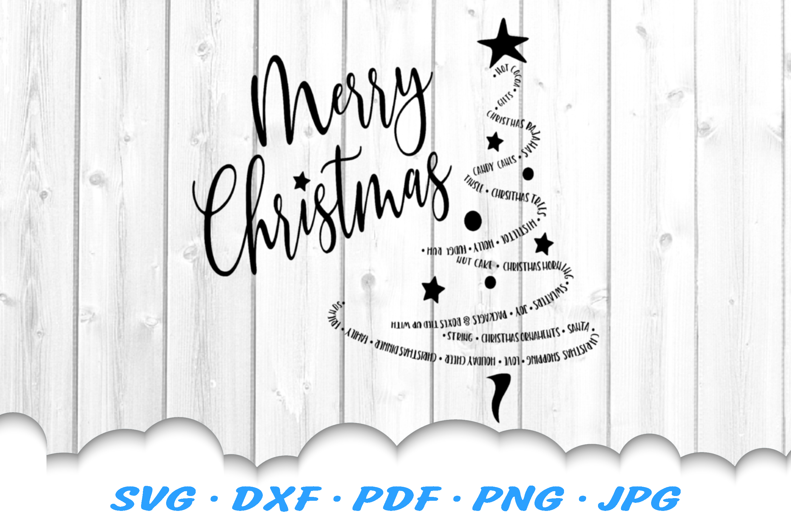 Merry Christmas Word Tree SVG DXF Cut Files example image 2