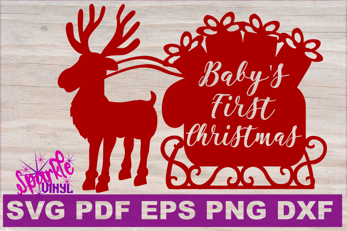 First Christmas SVG DXF EPS PDF PNG Baby's First Christmas SVG Cut File Cricut Silhouette example image 2