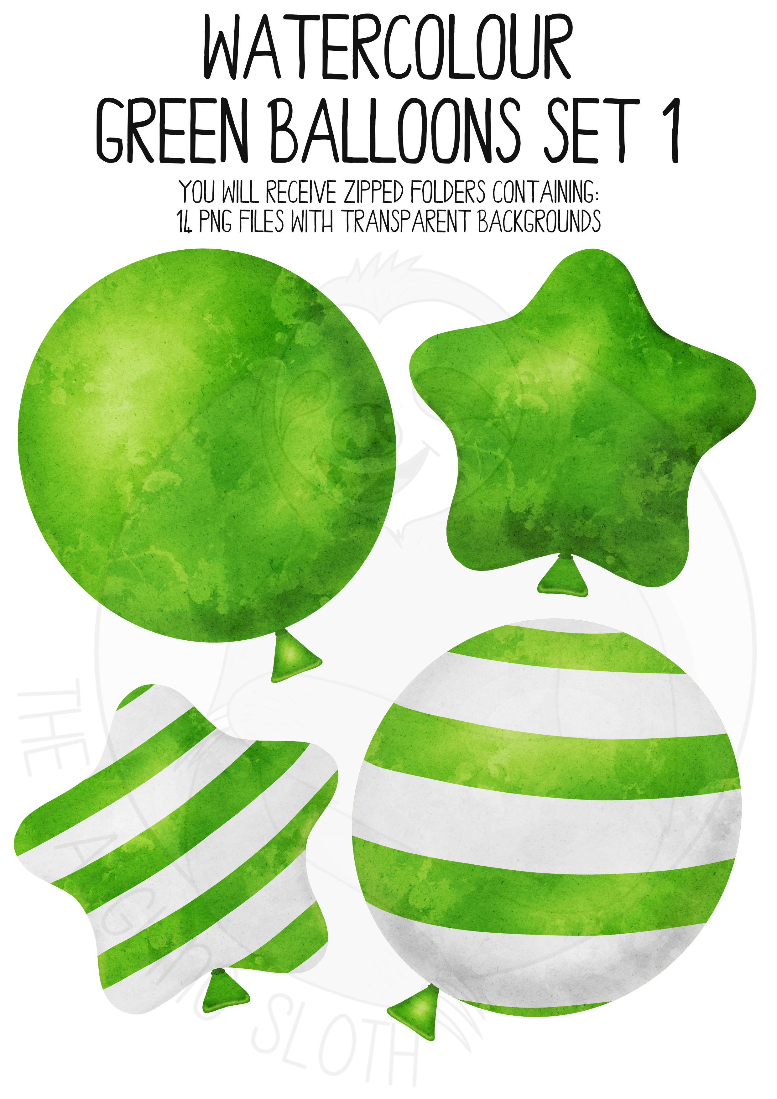 Green Watercolor Balloon Clipart Set example image 3
