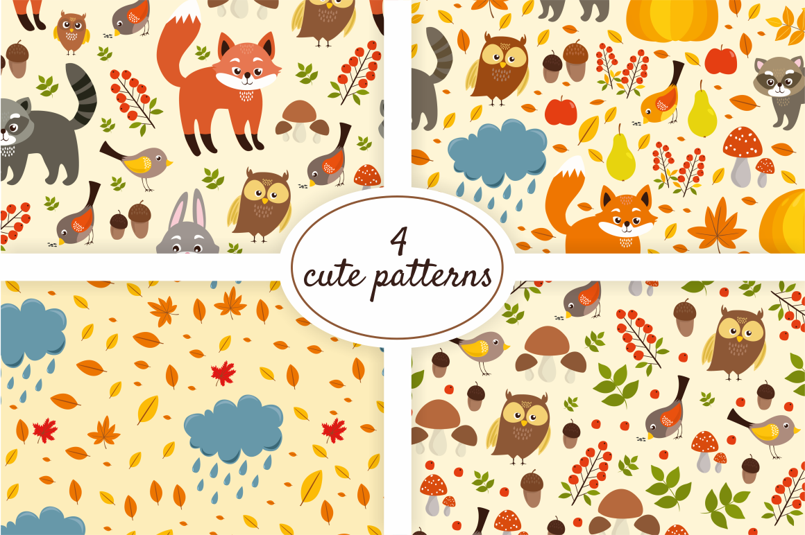 Cute Set Forest Animals and Patterns example image 4