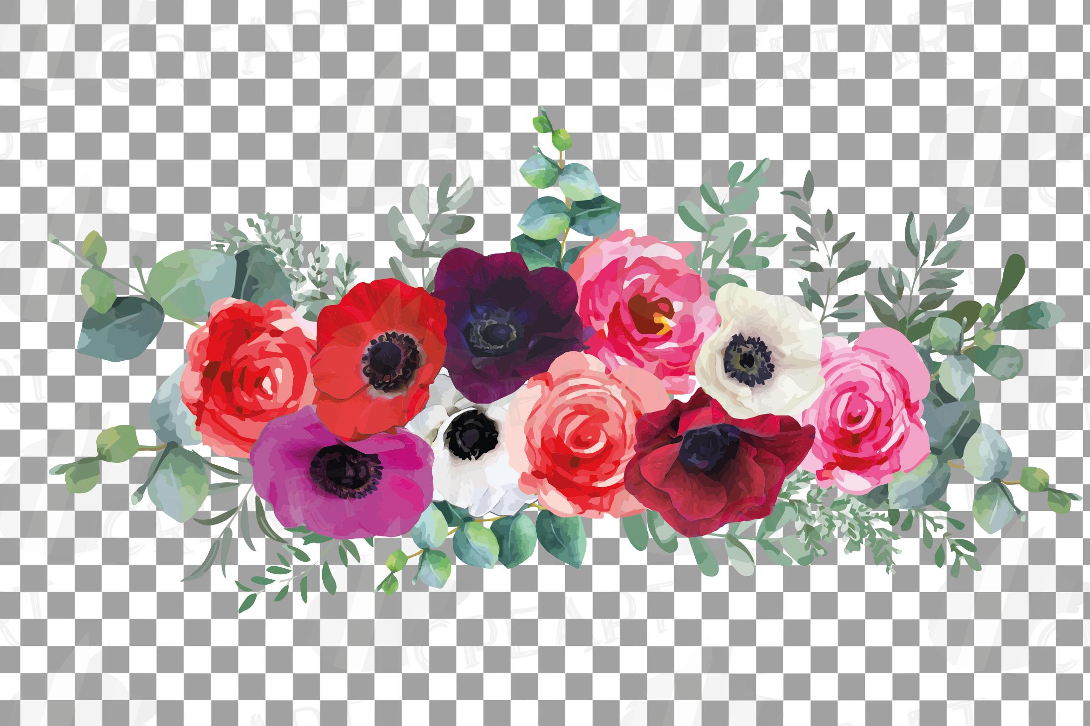 Watercolor elegant floral bouquets, rose, anemone decoration example image 9
