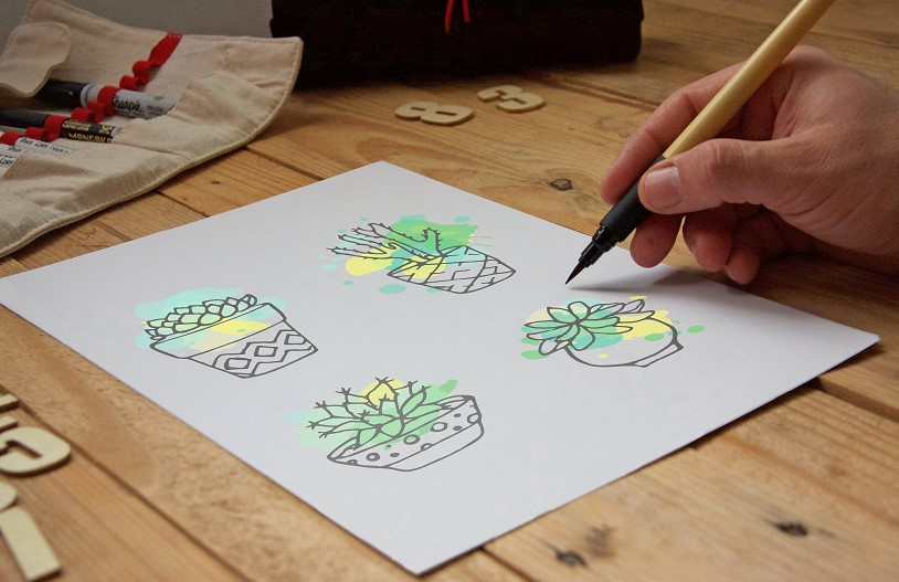 Succulent - Big hand drawn set with paint splashes example image 2