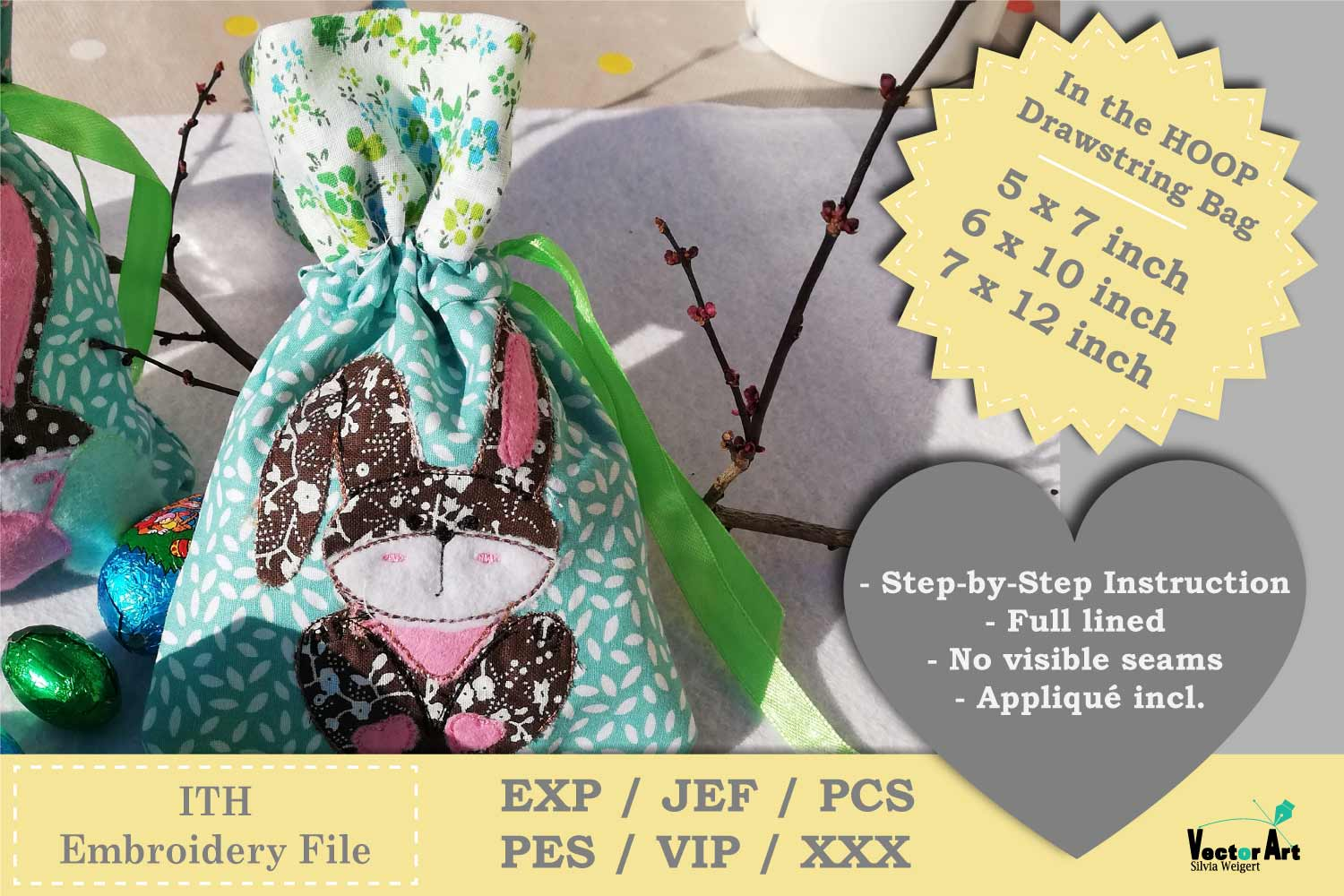 ITH -Drawstring Bag with Bunny - Embroidery File example image 2
