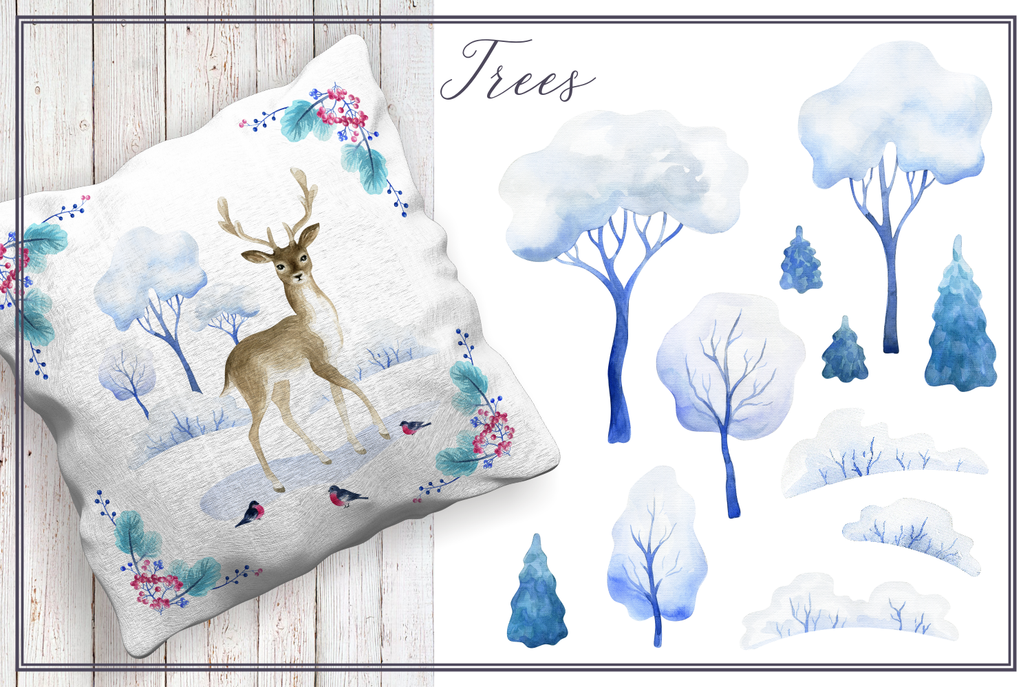 Winter tale. Watercolor cliparts example image 3