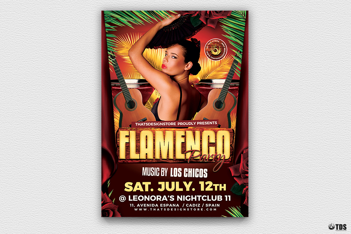Flamenco Party Flyer Template example image 2