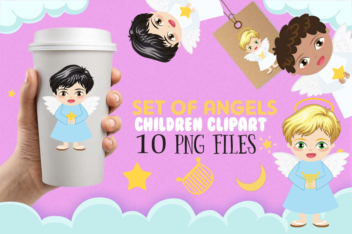 Angels BOYS clipart, angel clipart, Star clipart, baby ...