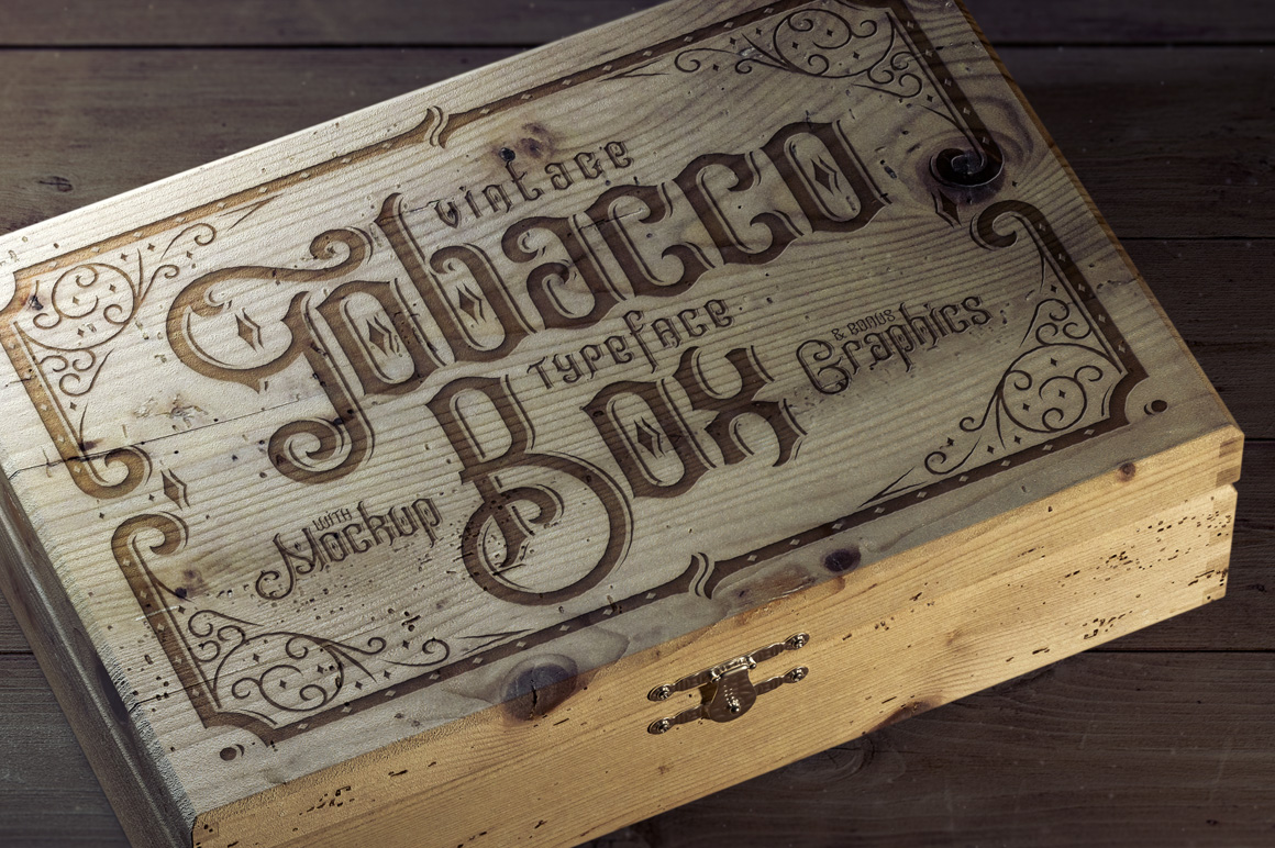 Tobacco Box Font, Mockups, Template! example image 1