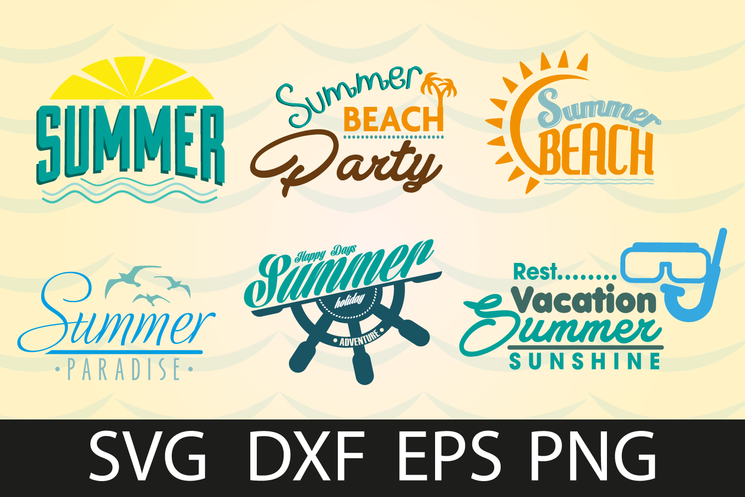 Summer Beach SVG DXF EPS PNG example image 1