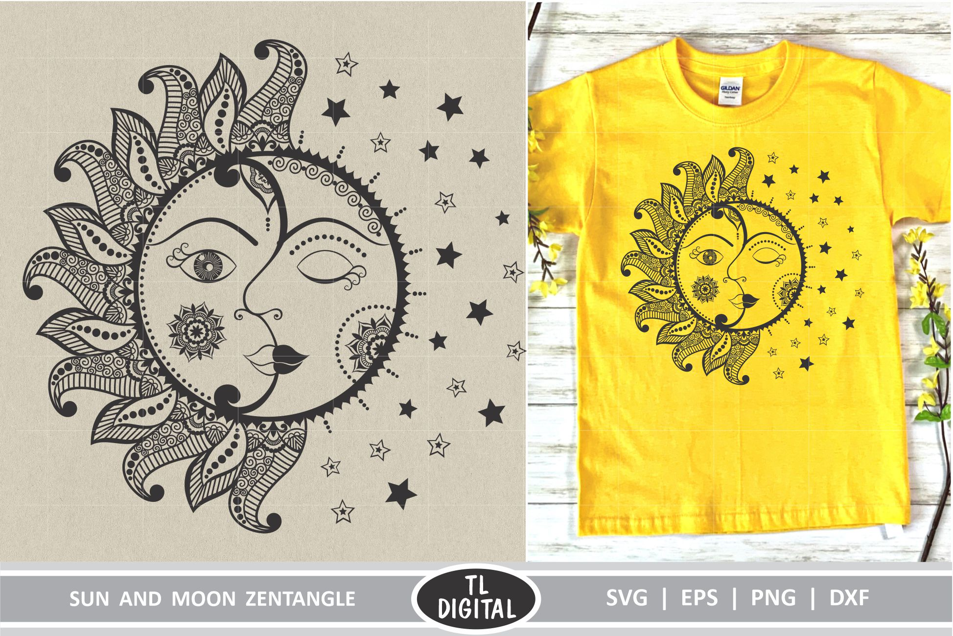 Sun and Moon Zentangle - Mandala SVG | EPS | PNG | DXF example image 1