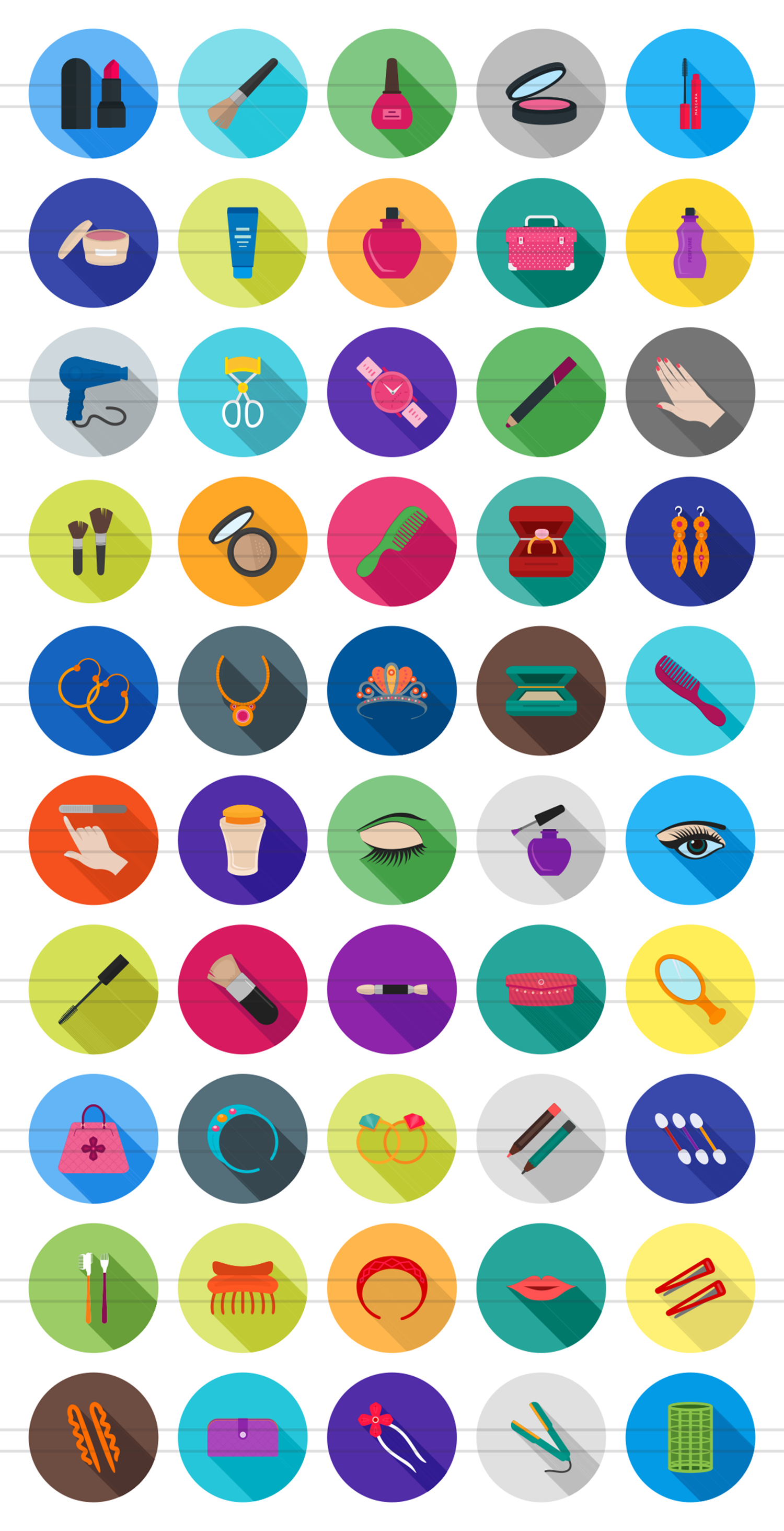 50 Makeup & Accessories Flat Long Shadow Icons example image 2