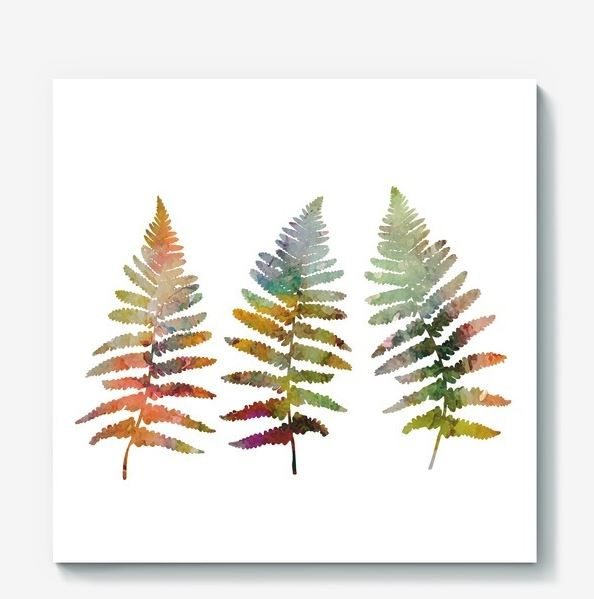 Fern leaves illustration in watercolor style example image 1