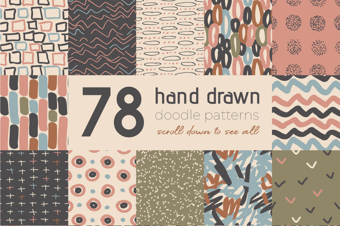 Neutral Hand Drawn Patterns Bundle example image 1