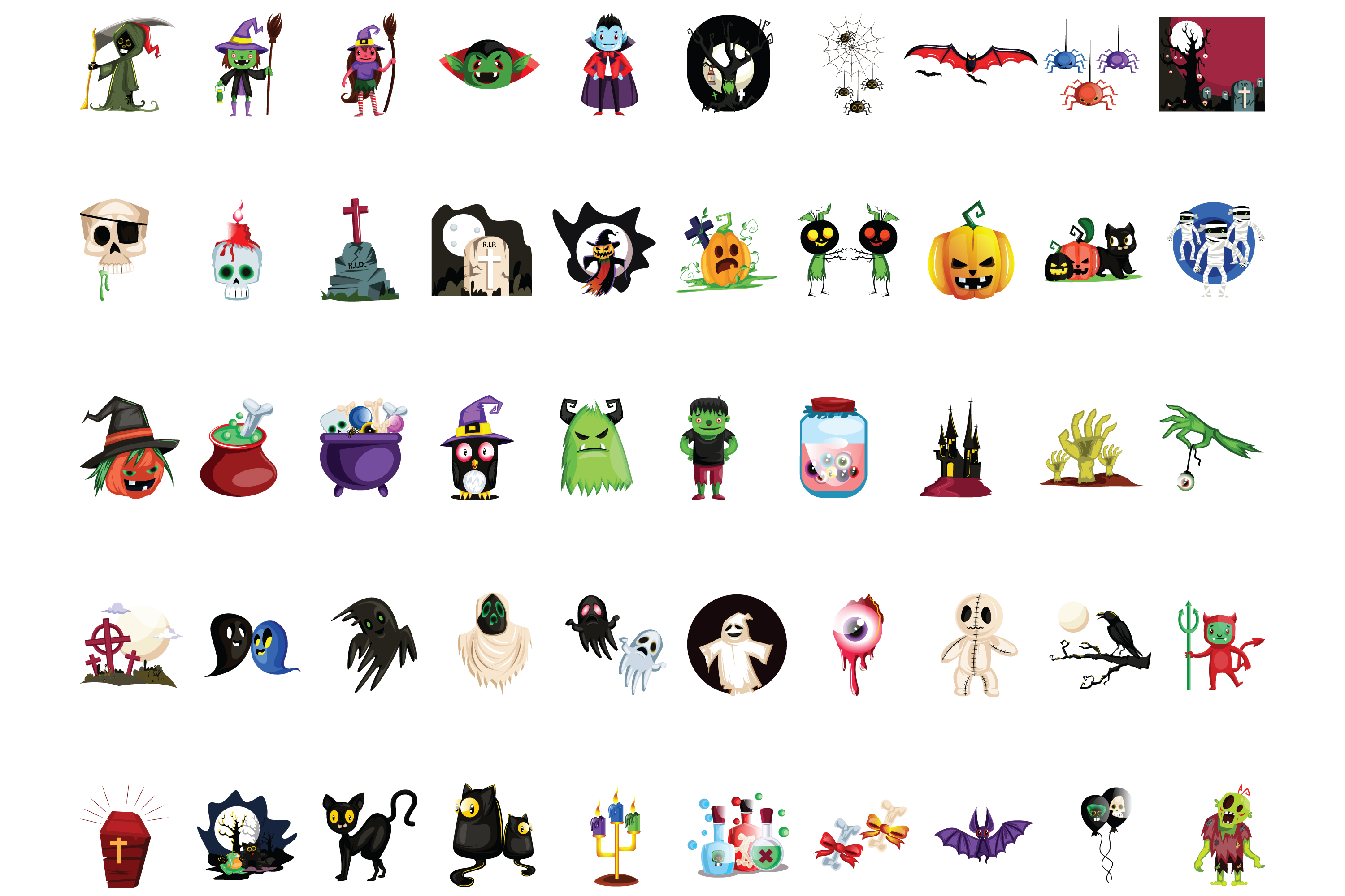50x Halloween vectors and cartoon high quality illustrations example image 2