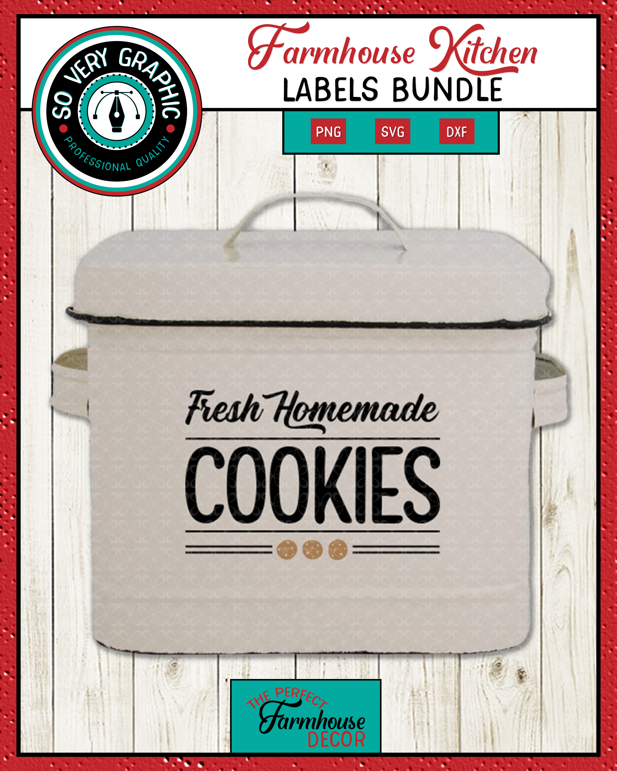 Farmhouse Kitchen Labels Bundle | Canister Pantry Decals SVG example image 2