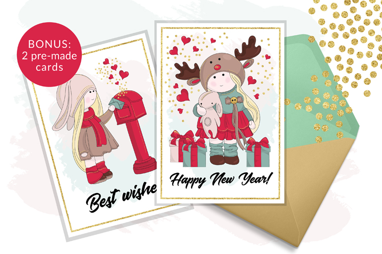 BEST WISHES Christmas Vector Illustration Pattern Animation example image 10