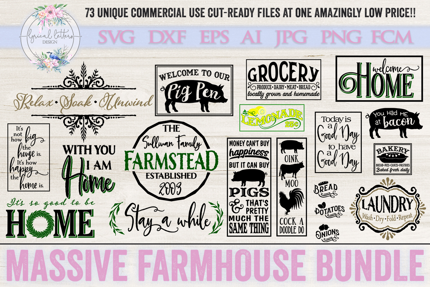 Farmhouse Bundle of 73 SVG DXF Cut File example image 5