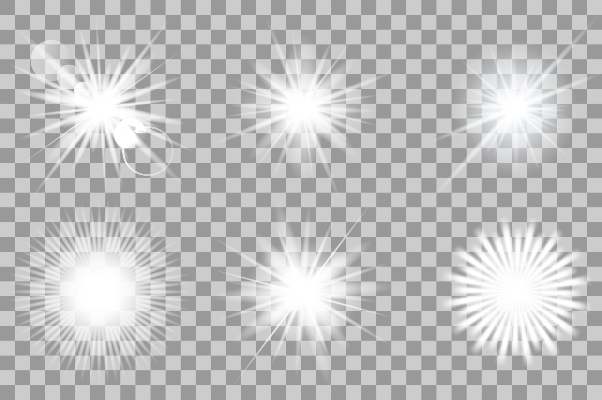 Vector white light effects. Flash. example image 1