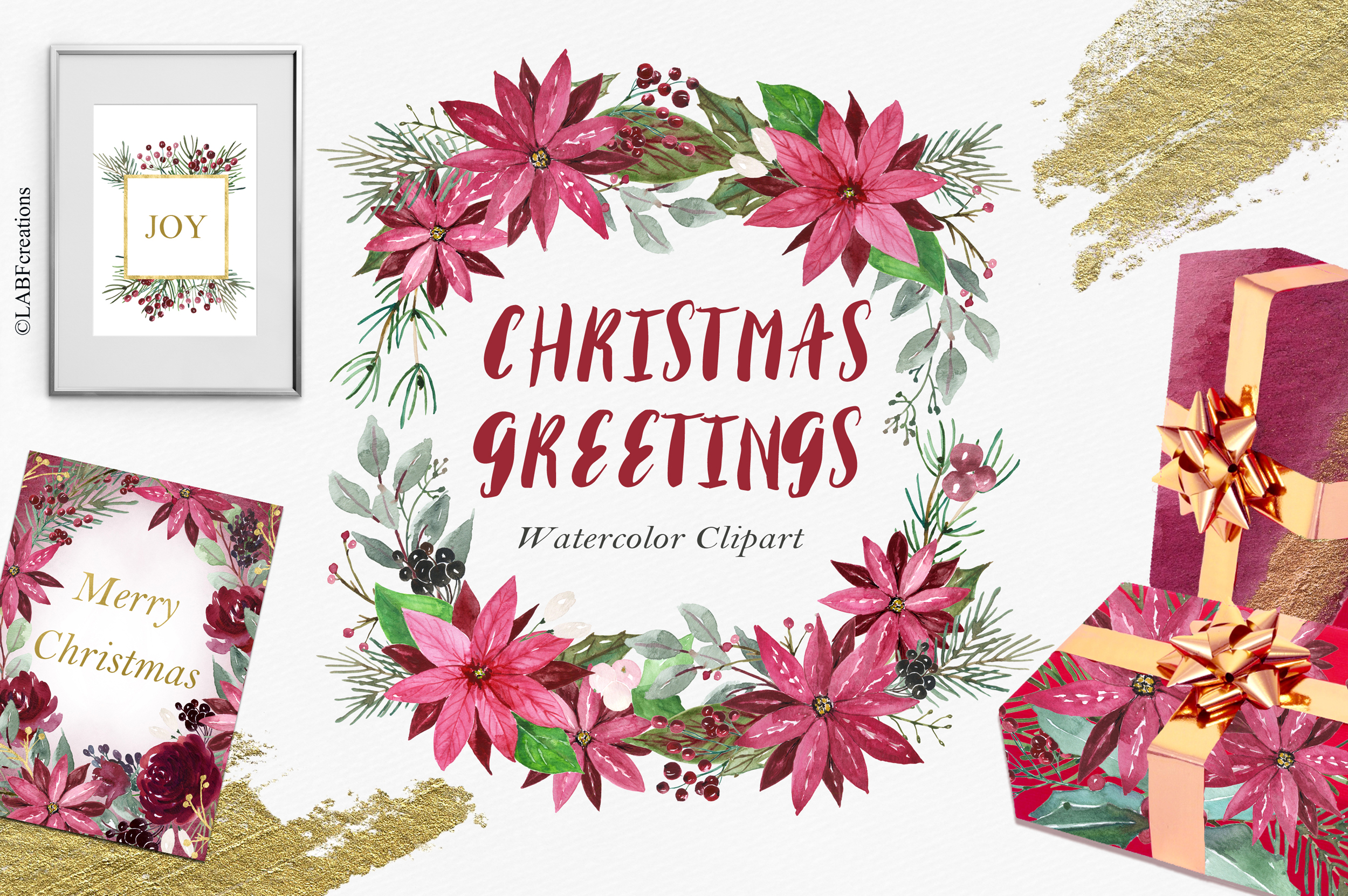 Christmas greetings. Hand drawn watercolor collection. example image 5