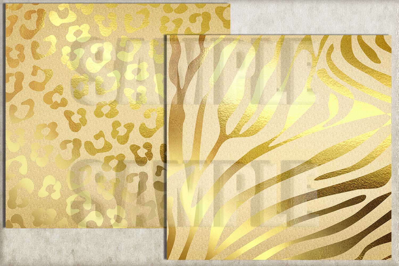 Gold Foil Animal Print Digital Paper, Kraft Paper example image 2