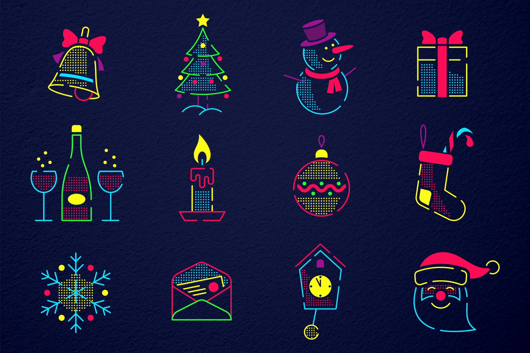 Christmas New Year Icons Set example image 4