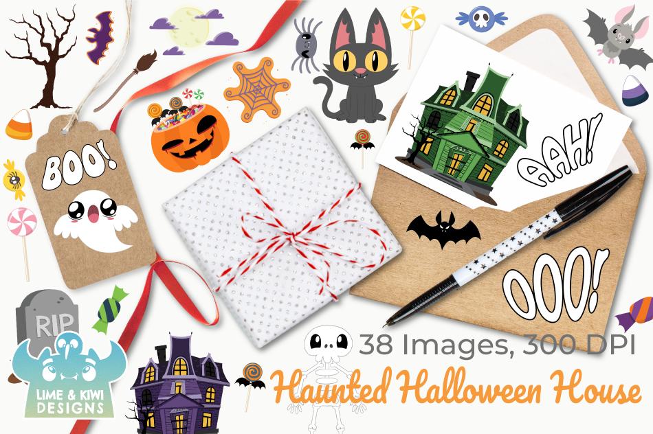 Haunted Halloween House Clipart, Instant Download Vector Art example image 4