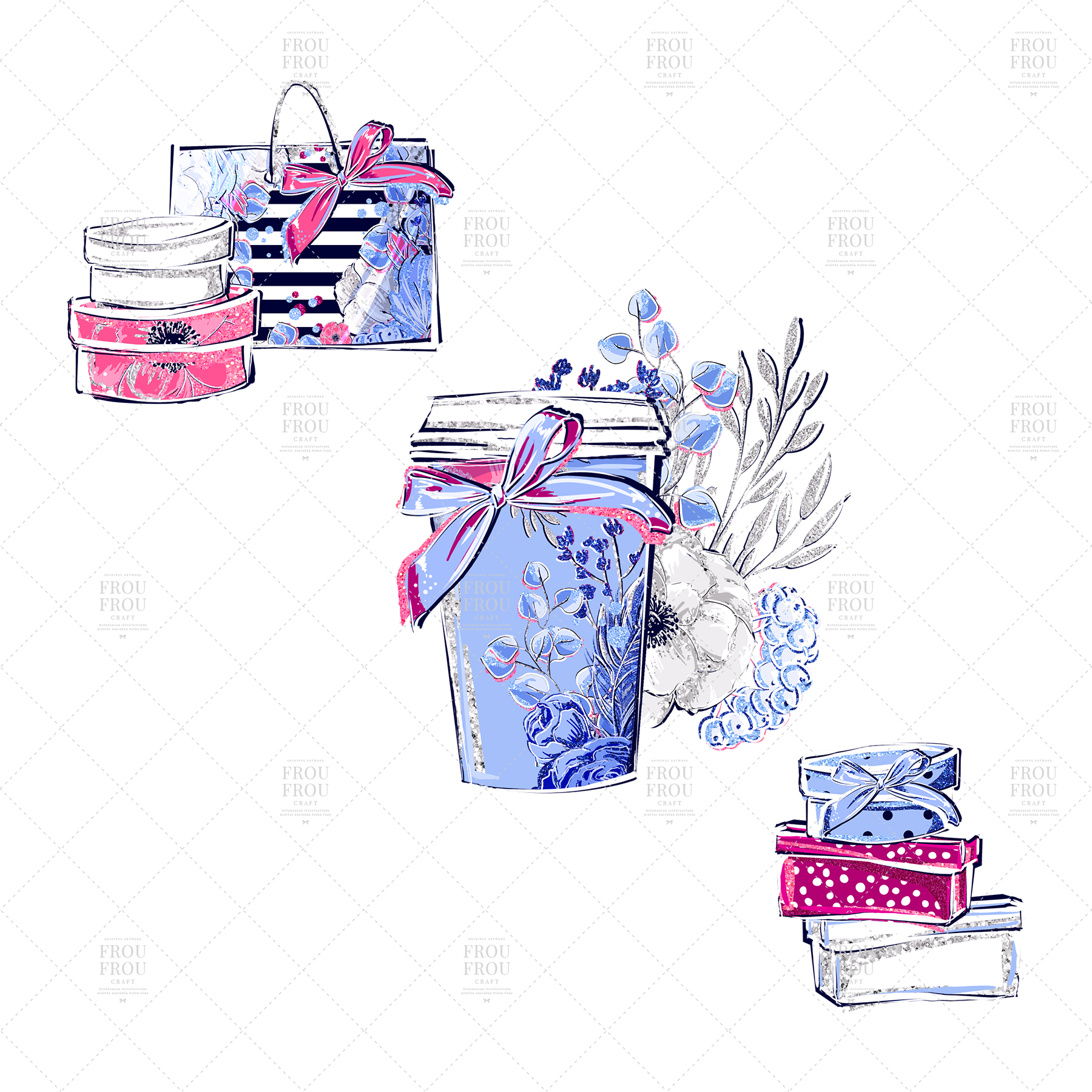 Fashion Girl Shopping Floral Silver Glitter Clip Art example image 6