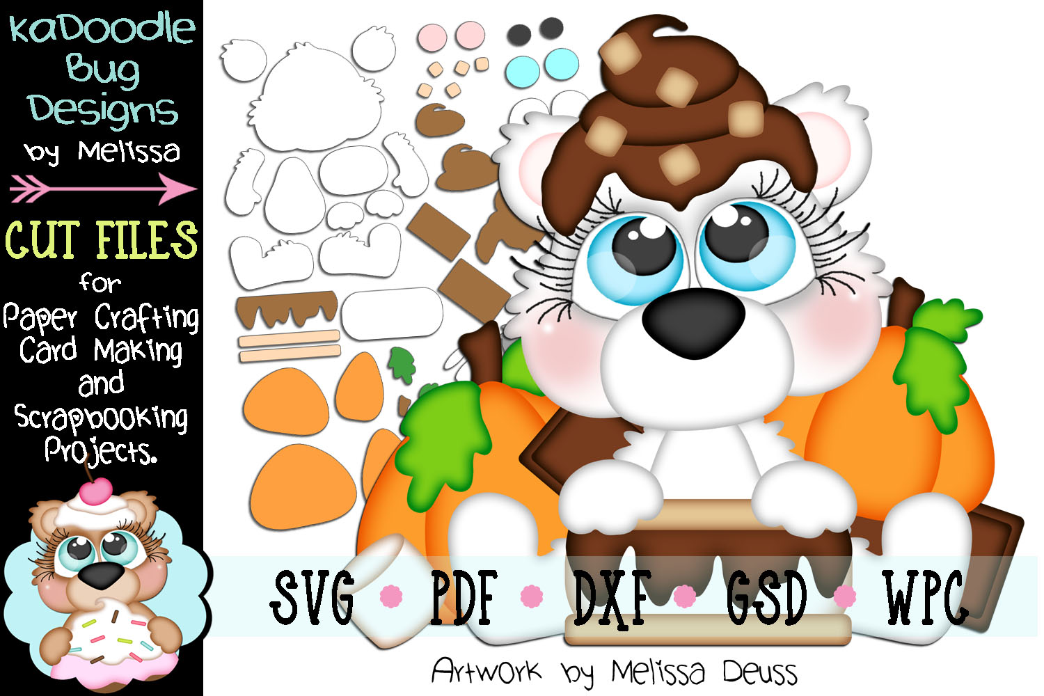 Fall Smore's Bear Cut File - SVG PDF DXF GSD WPC example image 1