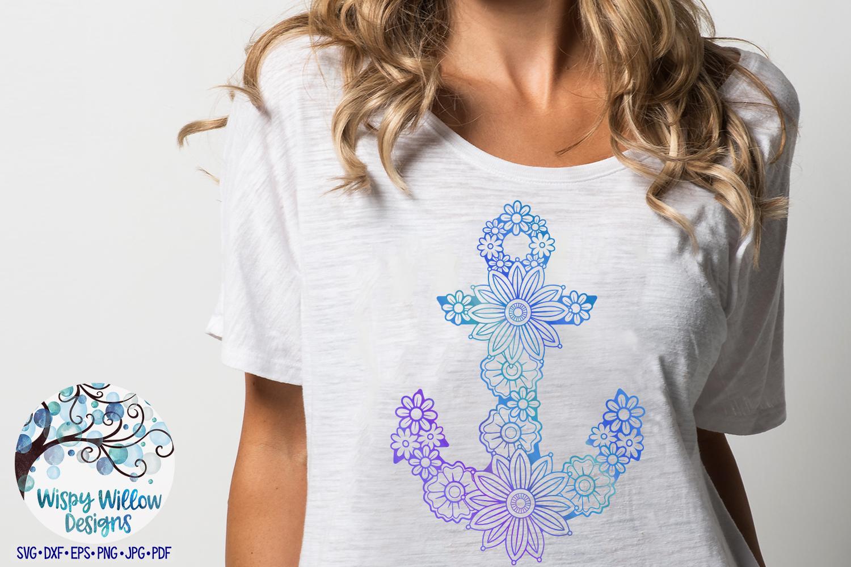 Floral Anchor SVG | Nautical Mandala SVG Cut File example image 3