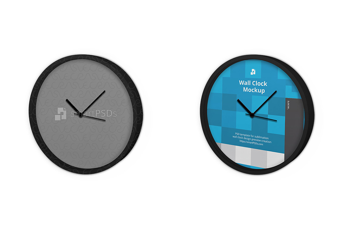 Round Wall Clock Design Mockup - 3 Views example image 2