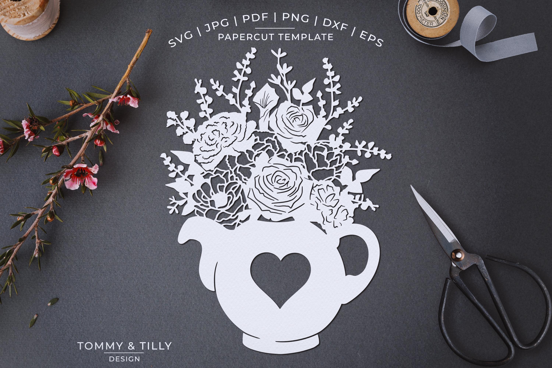 Romantic Floral Tea Pot - Papercut Template SVG JPG PNG example image 1