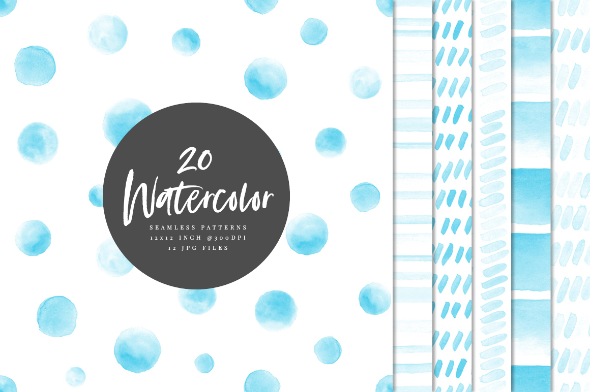 20 Seamless Watercolor Patterns Light Blue example image 1