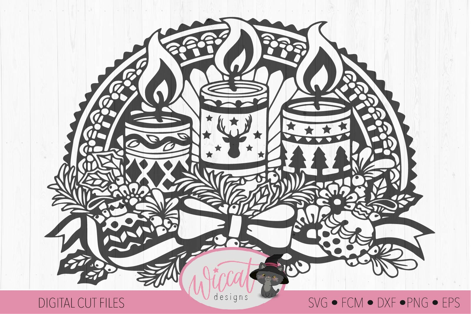 Doodle Christmas candle, Window Ornament design example image 2