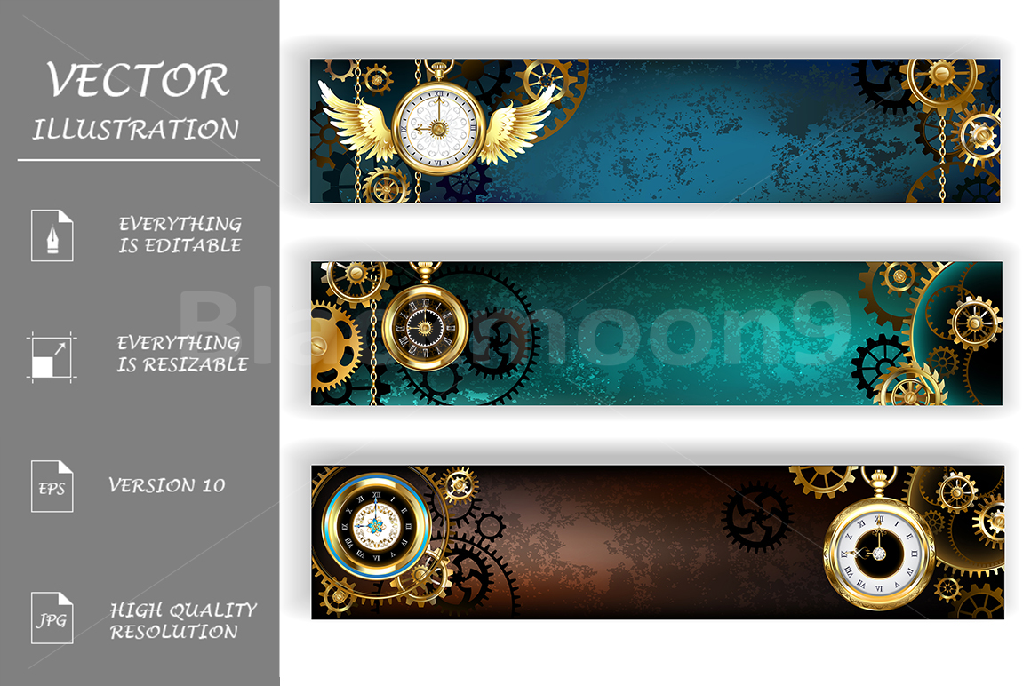 Three Banners with Clock  Steampunk  example image 1