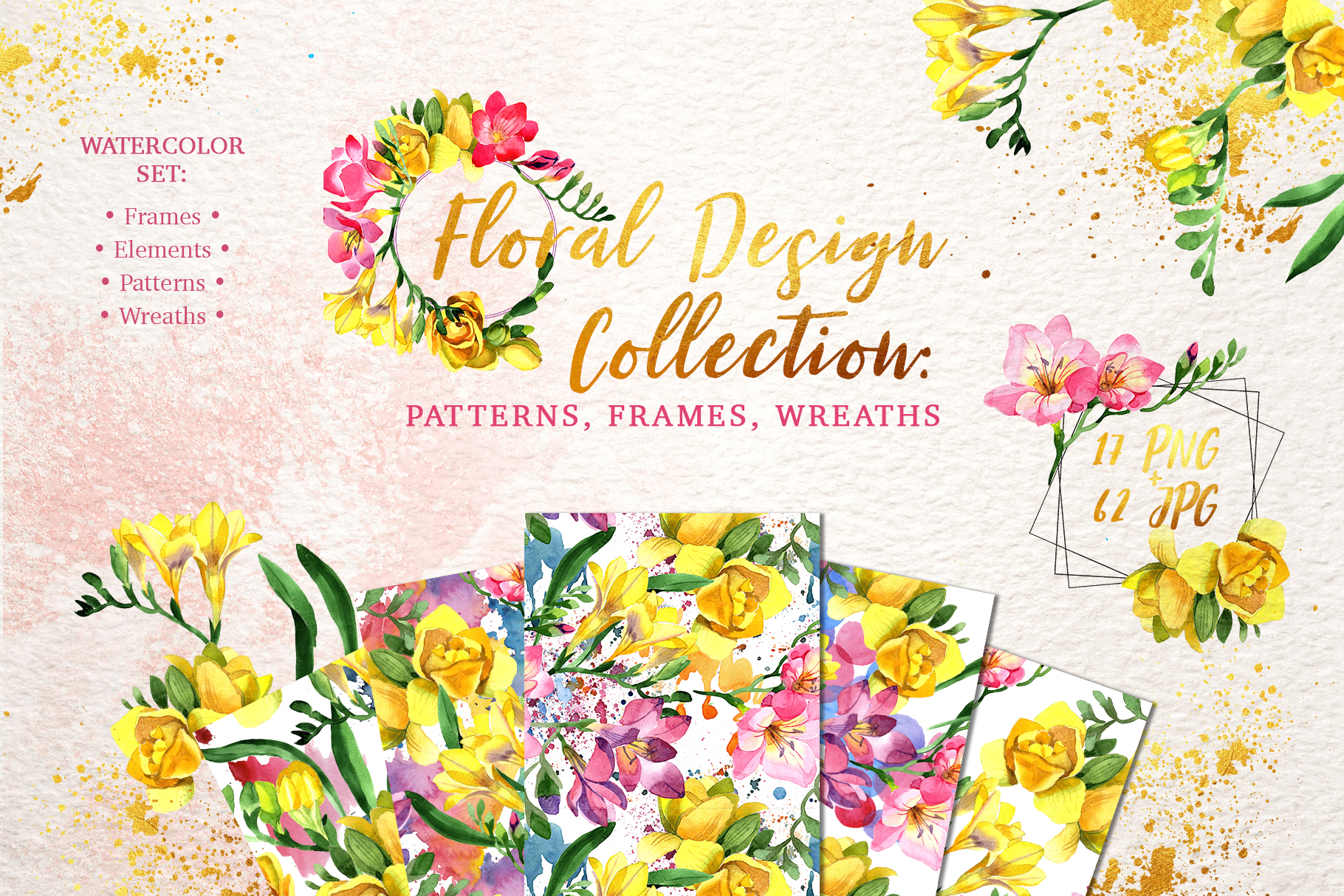Floral Design collection watercolor png example image 1