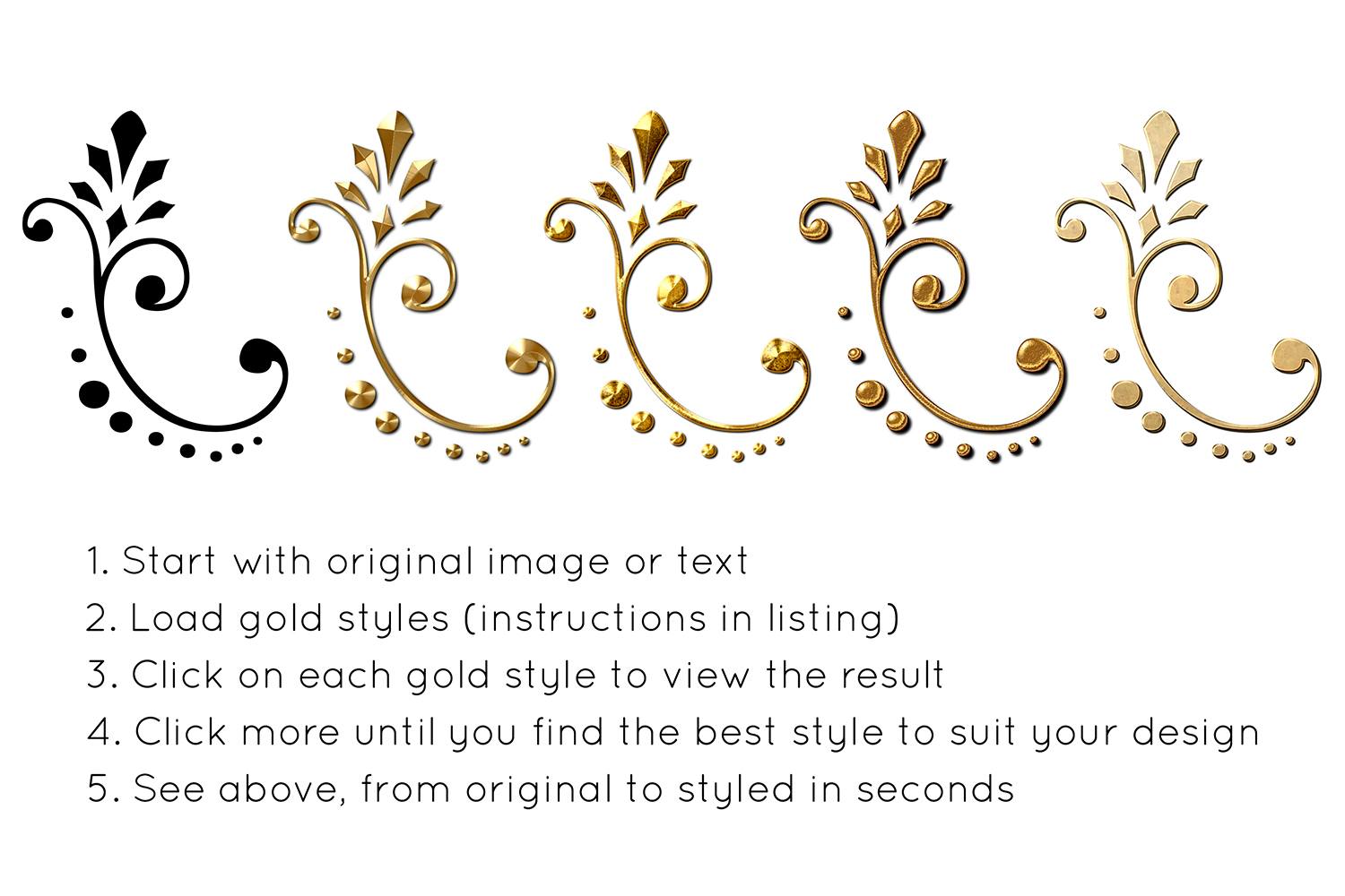 55 Photoshop Text Effects, Gold Foil Effect, Gold Stamp, Embossed Gold, ASL FX Styles, One Click FX example image 4