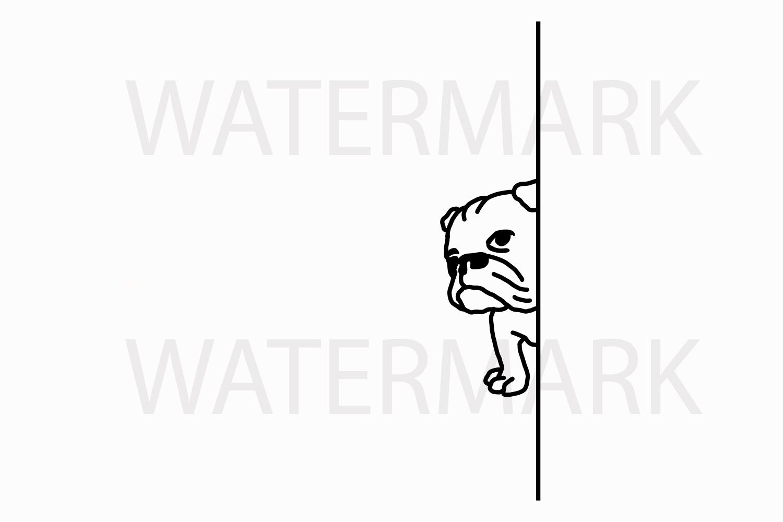 Bulldog Hiding peeping at you - SVG/JPG/PNG Hand Drawing example image 1