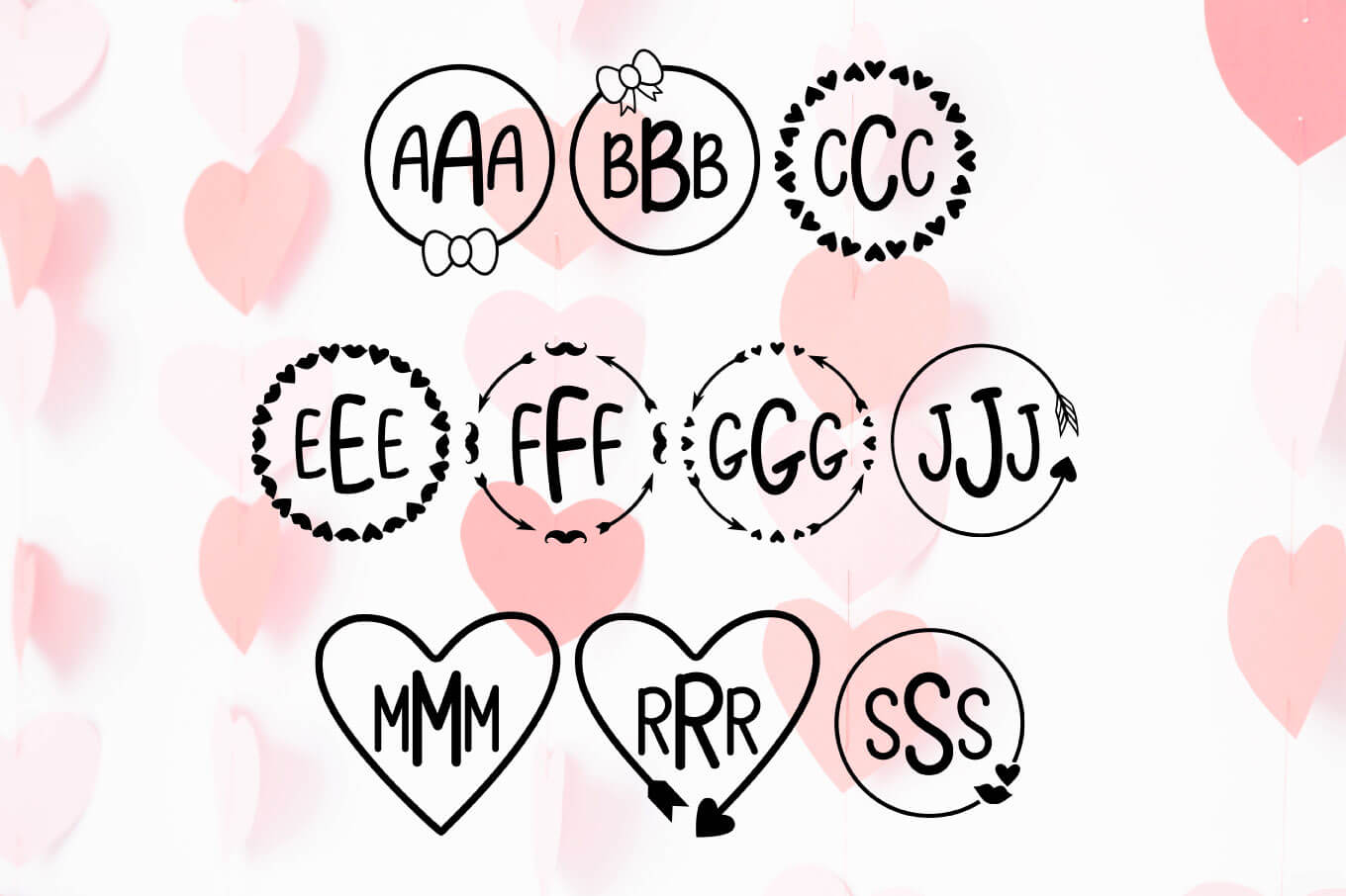 Love Letters - A Valentine Monogram Font example image 3