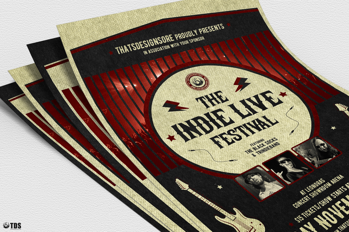 Indie Live Festival Flyer Template V2 example image 5