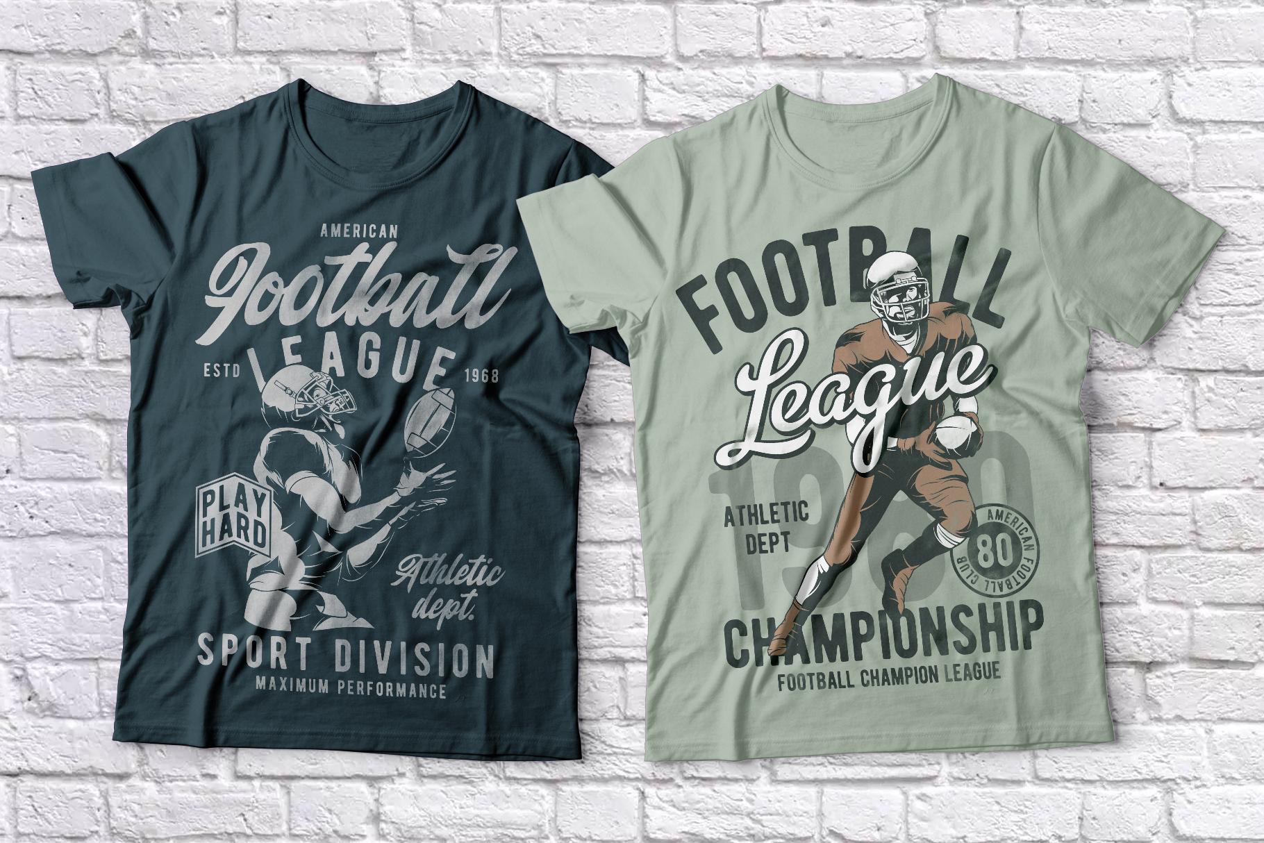 American football t-shirts set example image 4