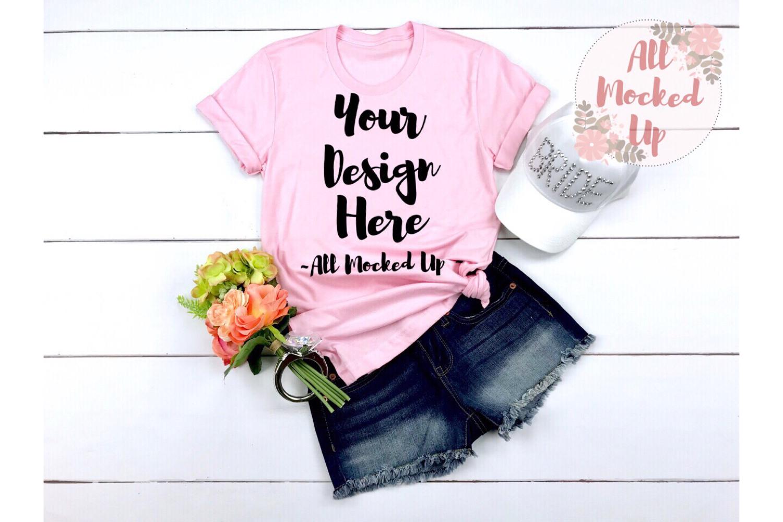 Bella Canvas 3001 PINK Shirt Mock Up - Wedding Theme 3/19 example image 1