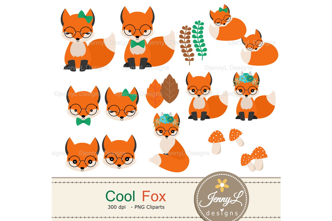 Woodland Fox Digital Papers and Clipart example image 3