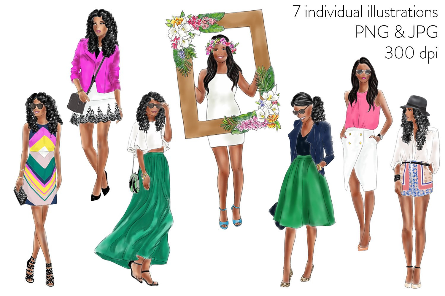 Fashion Girls - Volume 1 ( Dark skin) fashion illustration clipart example image 2