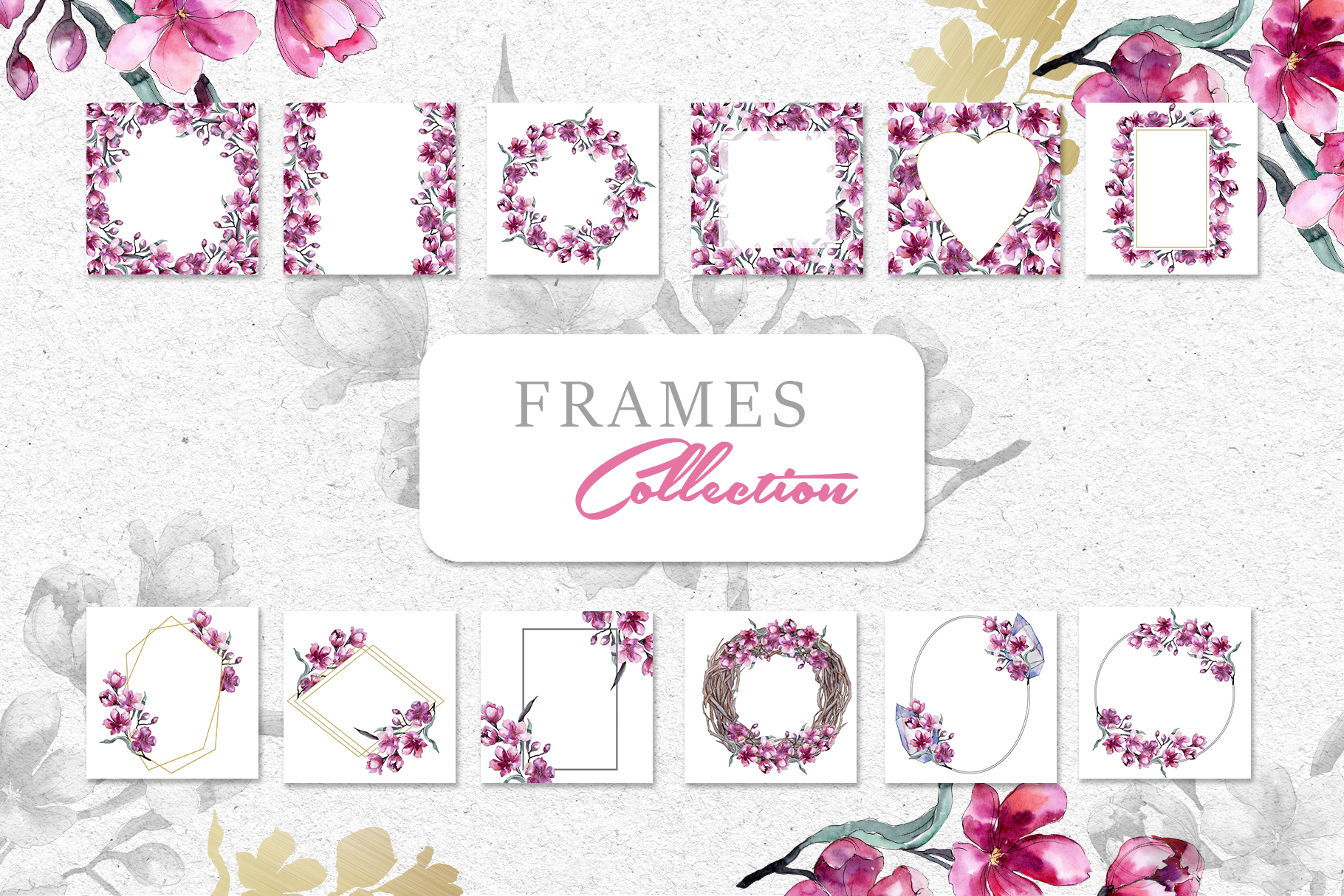 Bouquet of pink flower PNG watercolor pack example image 8