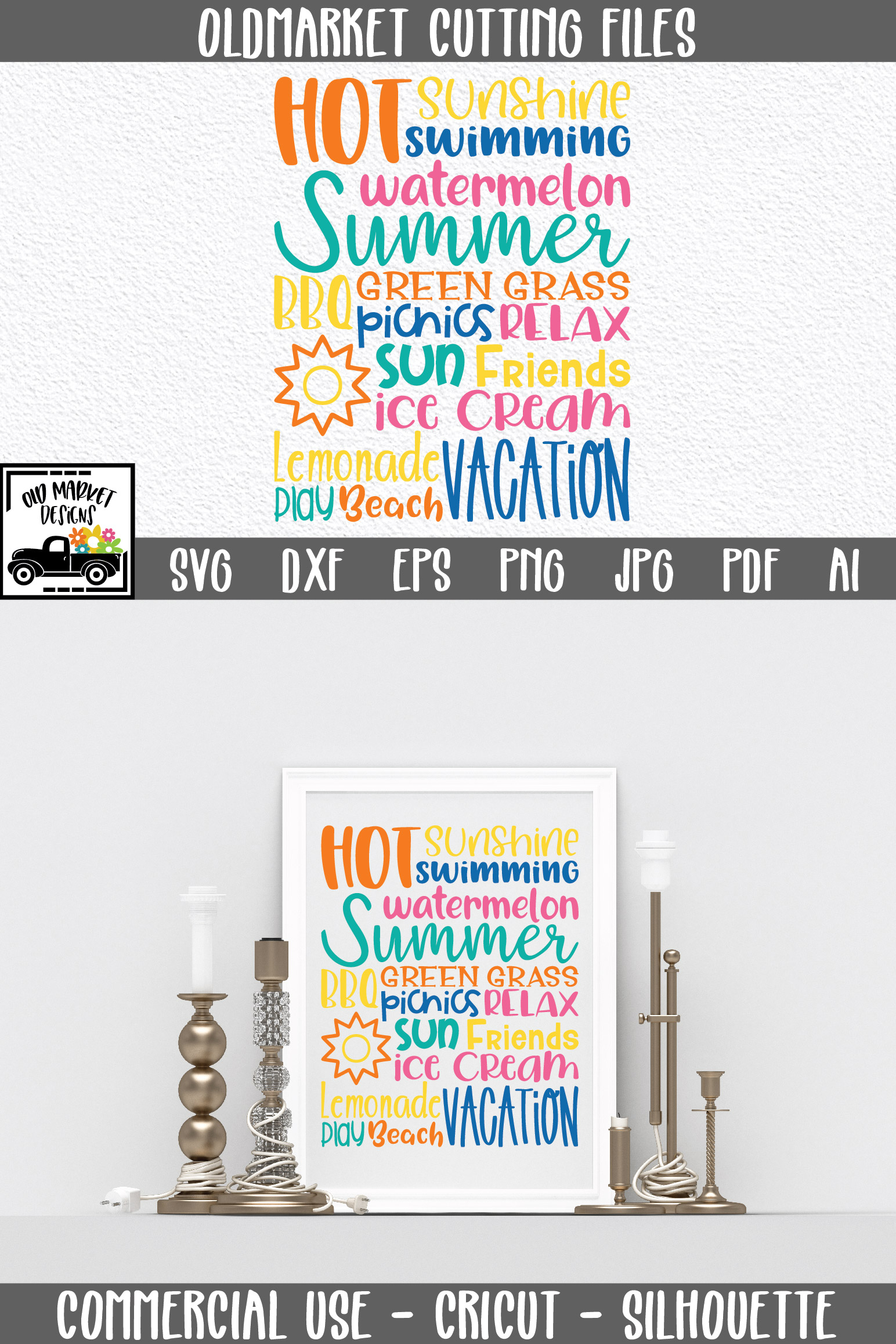 Summer Subway Art SVG Cut File example image 8