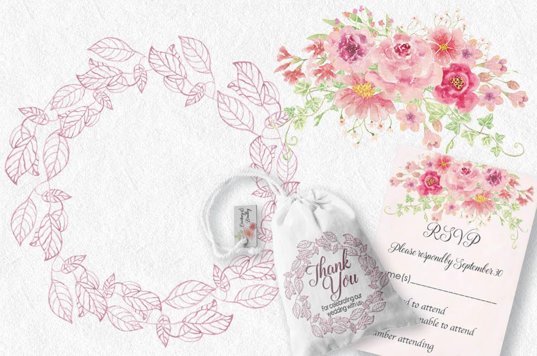 Watercolor clip art bundle: 'Just Pink' example image 4