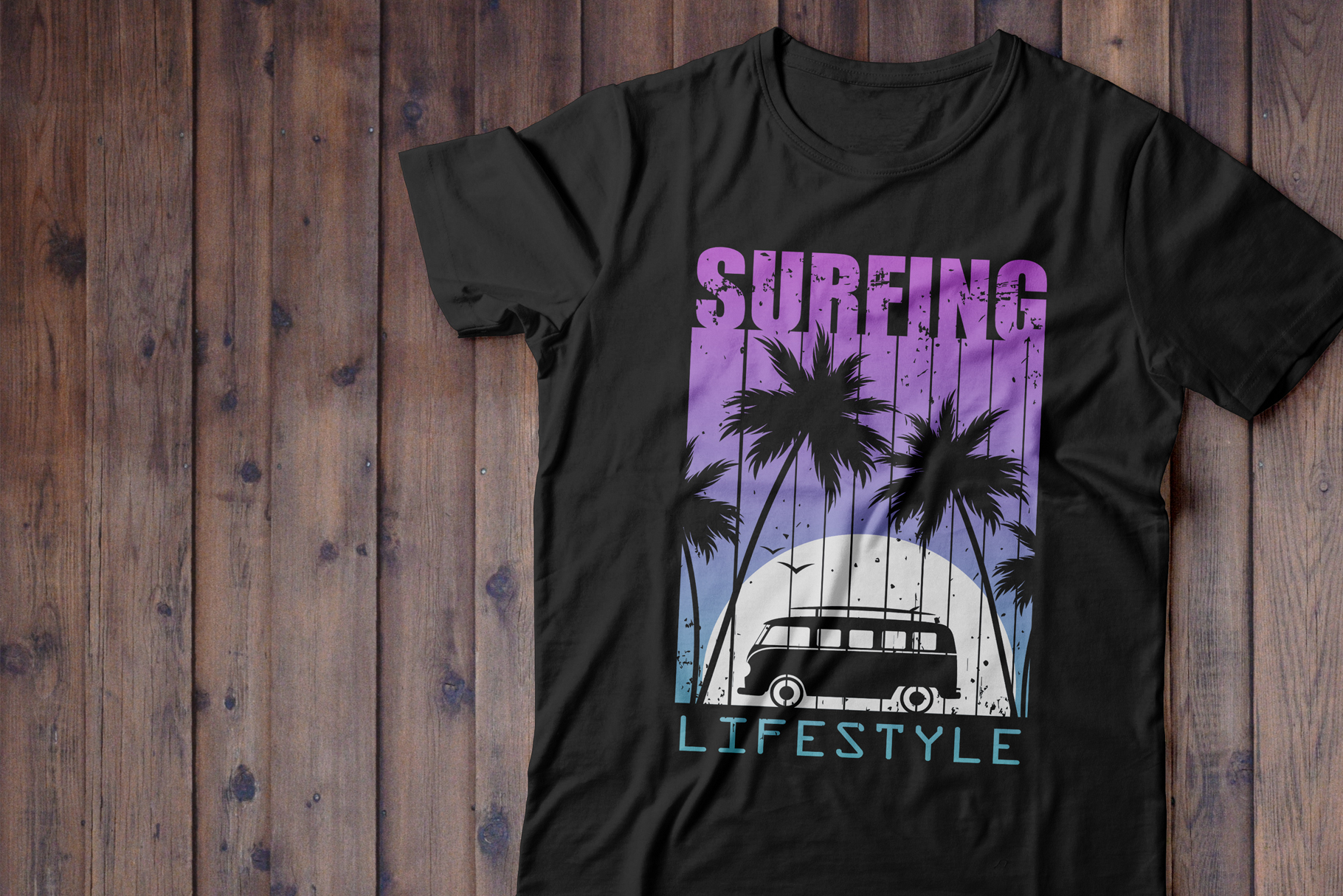 Night Surfing.Print for T-shirt example image 1
