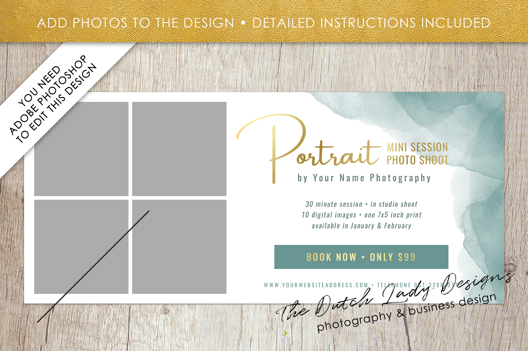 PSD Photo Mini Session Card Template - Design #30 example image 2