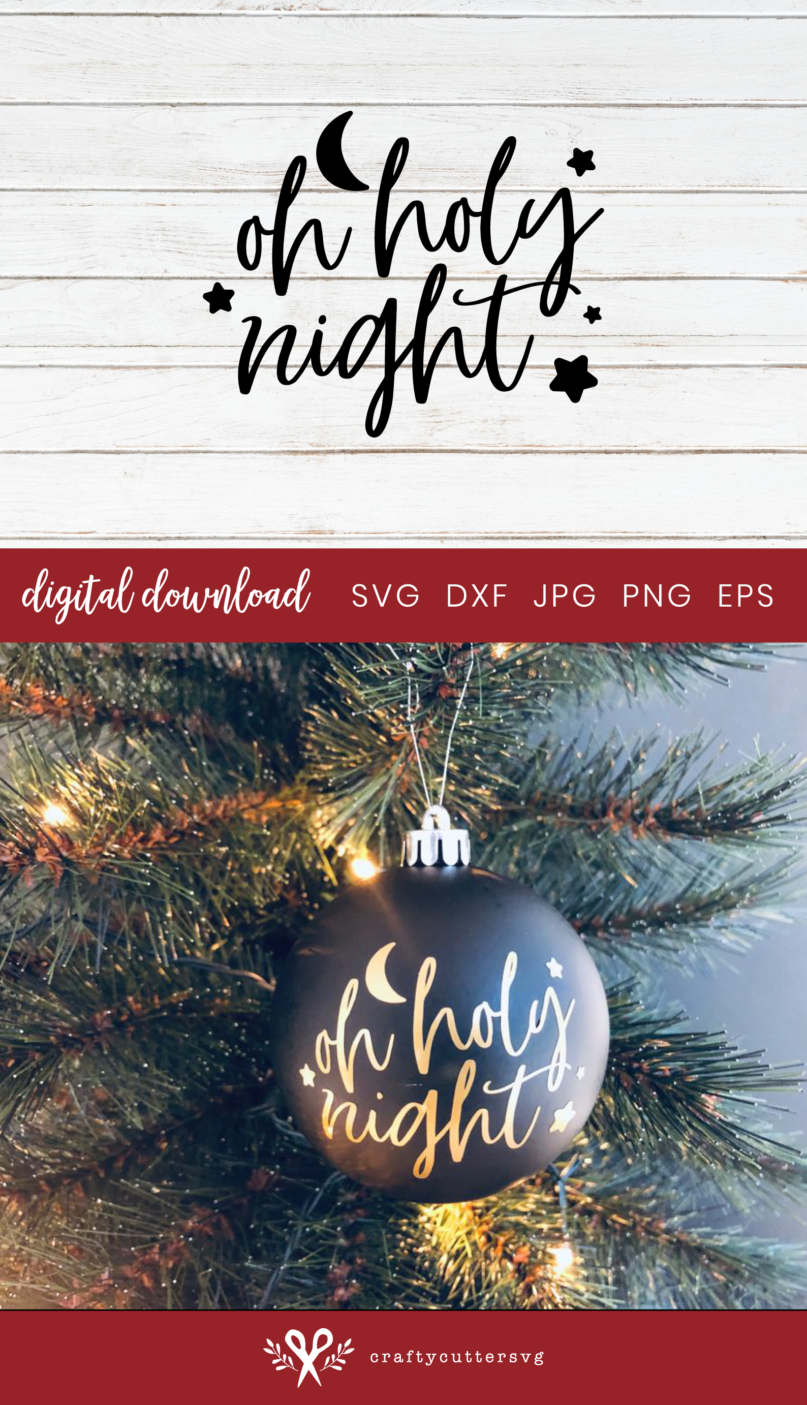 Christmas Bauble Oh Holy Night Cut File Bell Clipart example image 3