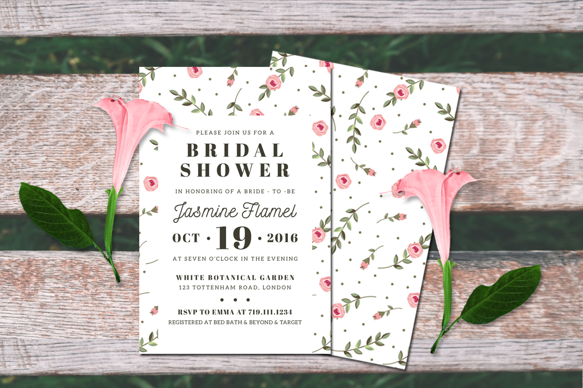 Floral Bridal Shower Invitation example image 3