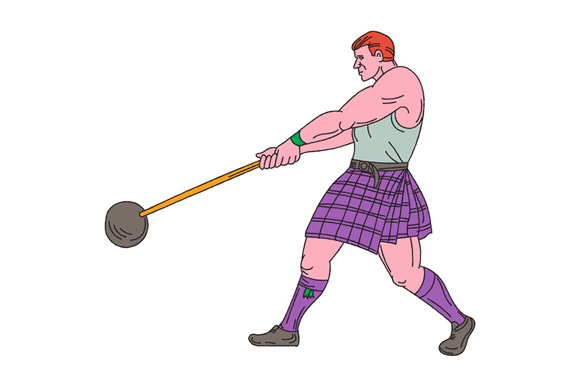 Weight Throw Highland Games Athlete Drawing example image 1